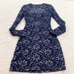 Express navy cut out back lace floral dress